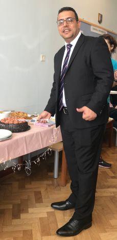 Ahmed celebrating